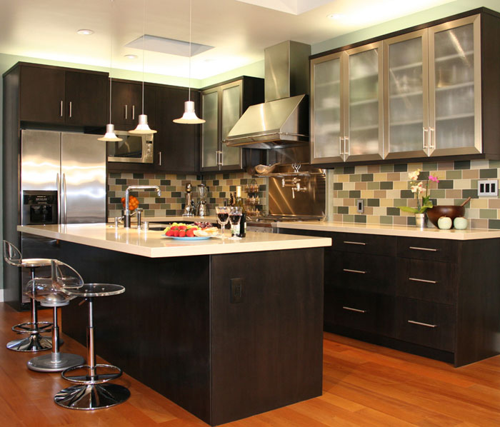 Attractive backsplash and a kitchen island on a new kitchen remodeling in Downtown LA, CA