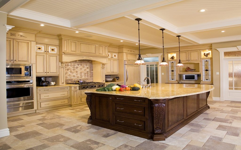 Huge Kitchen Space & Island for a luxury kitchen remodeling project in Calabasas, CA