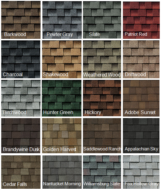 Different Kinds Of Shingles styles and colors