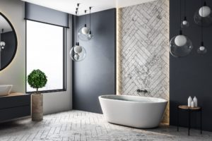 Modern bathroom design with black tone and a stylish bath